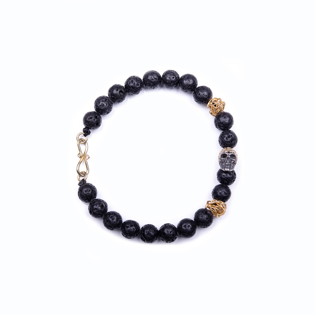 BEADED BRACELETS : Lava Stone with Gold Wire Beads & HJ Silver Wire ...